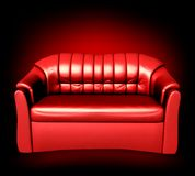 Red leather sofa. Vector Royalty Free Stock Image