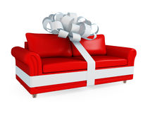 Red Leather Sofa Wrapped With A White Ribbon. Stock Photography