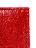 Red leather with stitch Stock Photo