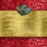 Red Leather Valentine Heart Card Royalty Free Stock Photos