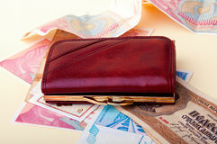 Red leather wallet and bank notes. A red leather wallet and various bank notes Royalty Free Stock Photography