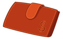 Red leather wallet with dollar sign Royalty Free Stock Photography