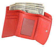 Red leather wallet with dollars and credit card Stock Image