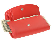 Red leather wallet with dollars and credit card Royalty Free Stock Images
