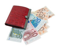 Red leather wallet and euro banknotes. Isolated over white background Stock Photo