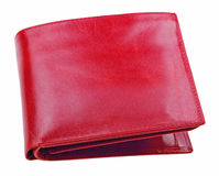 Red leather wallet isolated on white Stock Photography