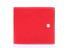 Red leather wallet. On a white background Stock Images