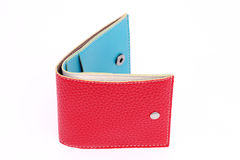 Red leather wallet. On a white background Stock Photo
