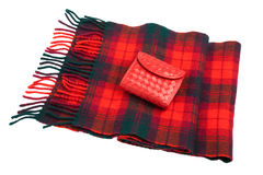 Red leather wallet and wool scarf Stock Photos