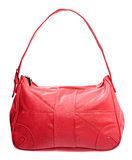 Red leather women bag isolated over white Stock Photo