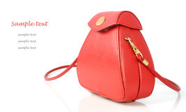 Red leather women bag on white background Royalty Free Stock Photo