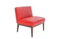 Red leather and wood armchair modern designer stock photography