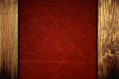 Red leather with wooden panels Royalty Free Stock Photography