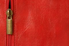 Red leather with zipper Stock Photos