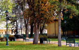 Red Leaved Trees by the Church. Red leaves on the tree with yellow leaves on the ground by the Church in downtown Santa Fe Royalty Free Stock Photography