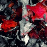 Red leaves. Autumn black and white color splash Royalty Free Stock Images