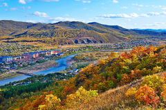The red leaves on the hillside _autumn scenery Royalty Free Stock Photo