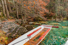 Red leaves and red boat at Blausee/ Blue Lake nature park, Kande Royalty Free Stock Images