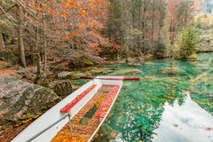 Red leaves and red boat at Blausee/ Blue Lake nature park, Kande Royalty Free Stock Photography