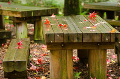 Red leaves on wooden table Stock Photos
