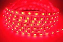 Red LED strip light Royalty Free Stock Photo