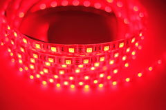 Red LED strip light Royalty Free Stock Image