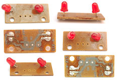 Red leds. The printed circuit-board with red leds royalty free stock images