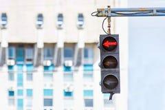 Red left sign traffic lights Stock Images