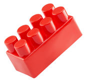 Red lego isolated on a white background Royalty Free Stock Images