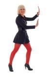 Red Legs Blonde Girl, Stock Photo
