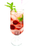 Red lemonade drink with ice and cherry Royalty Free Stock Photography