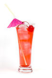 Red lemonade with party straw on white. Background Stock Photography