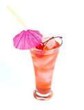 Red lemonade with party straw. On white Royalty Free Stock Photos