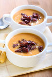 Red lentil  and chorizo soup Royalty Free Stock Photos