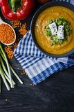 Red lentil cream soup decorated with fresh vegetables and greens. Veggie concept. Proper nutrition. View from above stock photography