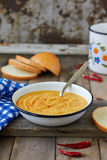 Red lentil cream soup. With spices Stock Image