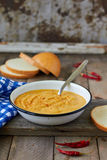 Red lentil cream soup. With spices Stock Photography