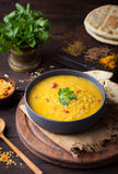 Red lentil Indian soup with flat bread. Masoor dal. Stock Images