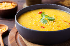 Red lentil Indian soup with flat bread. Masoor dal. Royalty Free Stock Image
