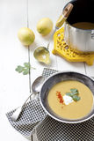Red lentil Soup. Or carrot soup or pumpkin soup with yogurt and paprika in bowl stock photography