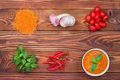 Red lentil soup with ingredient Royalty Free Stock Images