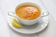 Red lentil soup, turkish cuisine Royalty Free Stock Image