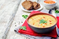 Red lentil vegetable soup Stock Images