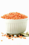 Red lentils. In a white  ceramic bowl decorated with pepper, salt and bay leaves Royalty Free Stock Images