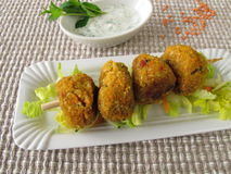 Red lentils balls with dip Stock Photos