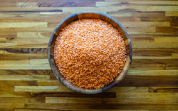 Red lentils in a bowl Stock Images