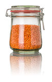 Red lentils in a jar Royalty Free Stock Photo