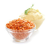 Red lentils and lentil hummus Stock Photography