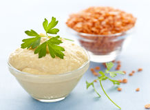 Red lentils and lentil hummus Stock Photos