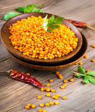Red lentils pepper stock image